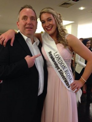 Aisling with MC Brendan Hennessy at the After Party.