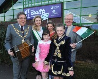 Mayor of Crawley -Cllr Keith Blake, Grace Kenny - Crawley's representative in the Rose of Tralee contest with Irish dancers Tara Meave and Niamh Mooney and John Nolan - CICS chairman.