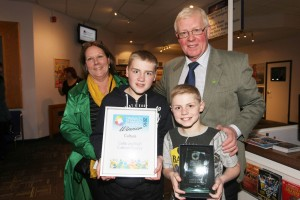 Chairman of the Celtic and Irish Cultural Society,  John Nolan with his wife Noreen and grandsons Dane and Ben after the awards ceremony.